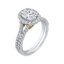 Load image into Gallery viewer, 14K Two Tone Gold Oval Diamond Halo Vintage Engagement Ring with Split Shank (Semi Mount)