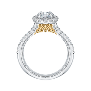 14K Two Tone Gold Oval Diamond Halo Vintage Engagement Ring with Split Shank (Semi Mount)