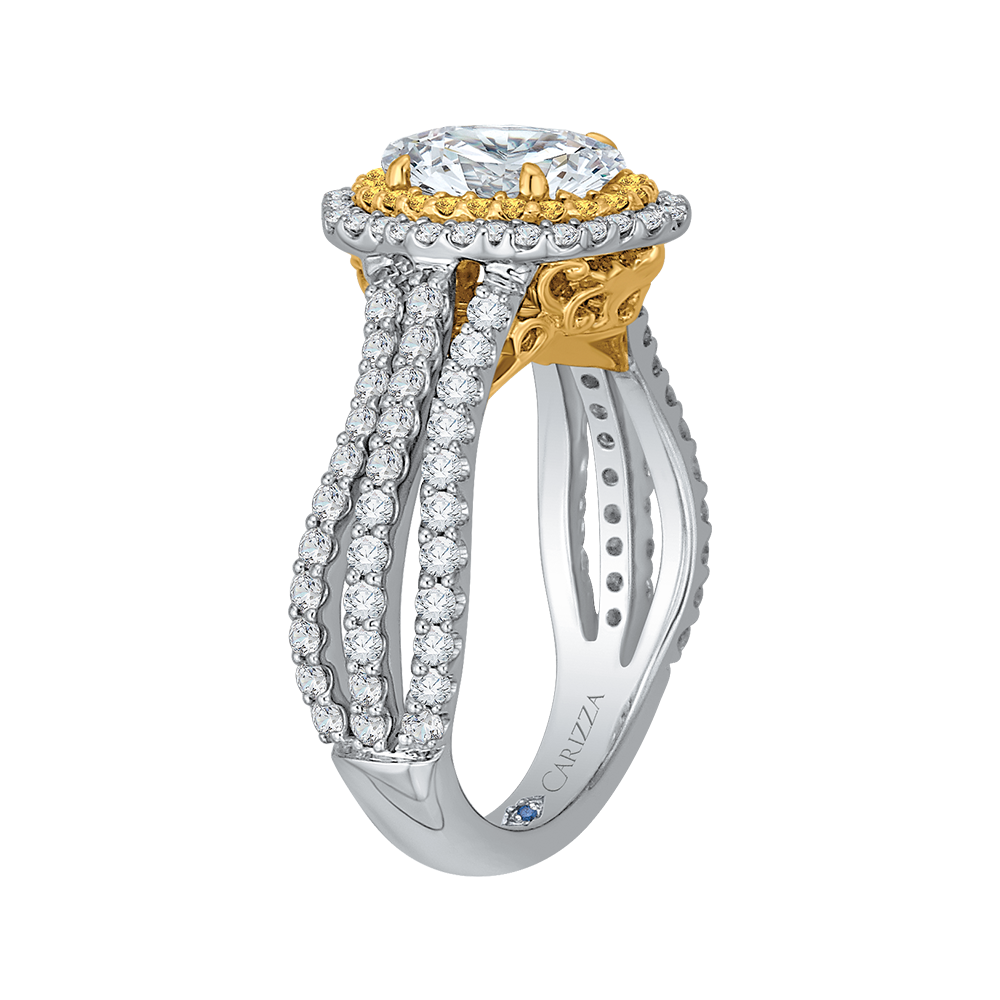 CAO0194EYL-37WY-1.5 Bridal Jewelry Carizza White Gold Rose Gold Yellow Gold Vintage Oval Diamond Double Halo Engagement Rings