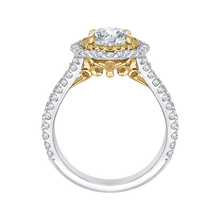 Load image into Gallery viewer, 14K Two Tone Gold Oval Diamond Double Halo Vintage Engagement Ring (Semi Mount)