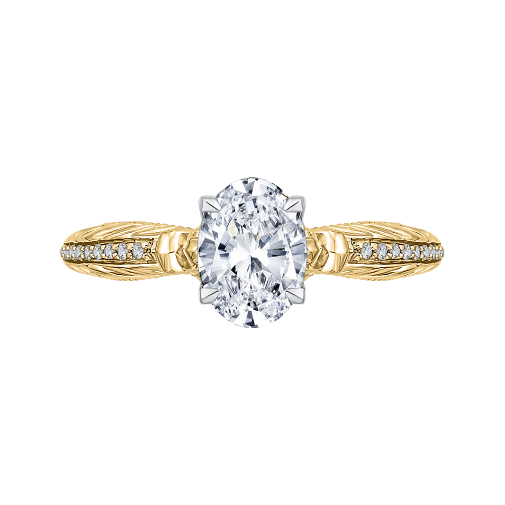 CAO0203E-37WY-1.50 Bridal Jewelry Carizza White Gold Rose Gold Yellow Gold Oval Diamond Engagement Rings