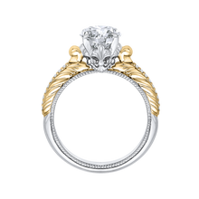 Load image into Gallery viewer, 14K Two Tone Gold Oval Diamond Engagement Ring (Semi Mount)