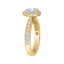 Load image into Gallery viewer, 14K Yellow Gold Oval Diamond Halo Engagement Ring (Semi Mount)
