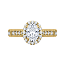 Load image into Gallery viewer, CAO0206E-37 Bridal Jewelry Carizza Yellow Gold Oval Diamond Halo Engagement Rings
