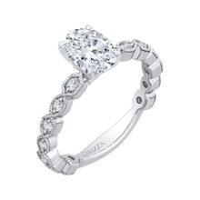 Load image into Gallery viewer, 14K White Gold Oval Diamond Floral Engagement Ring (Semi Mount)