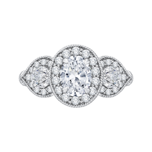 Load image into Gallery viewer, CAO0215E-37W-1.50 Bridal Jewelry Carizza White Gold Oval Diamond Halo Engagement Rings