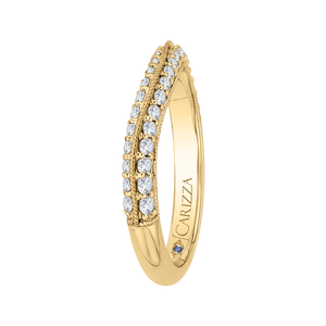 Round Diamond Half Eternity Wedding Band In 14K Yellow Gold