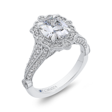 Load image into Gallery viewer, 14K White Gold Oval Diamond Halo Vintage Engagement Ring (Semi Mount)