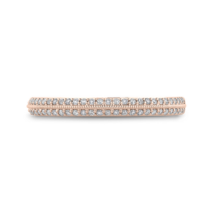 CAO0438BH-37P-1.00 Bridal Jewelry Carizza Rose Gold Round Diamond Wedding Bands