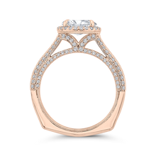 Load image into Gallery viewer, 14K Rose Gold Oval Diamond Halo Engagement Ring with Euro Shank (Semi Mount)