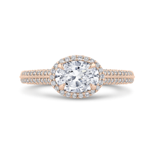 Load image into Gallery viewer, CAO0438EH-37P-1.00 Bridal Jewelry Carizza Rose Gold Oval Diamond Halo Engagement Rings