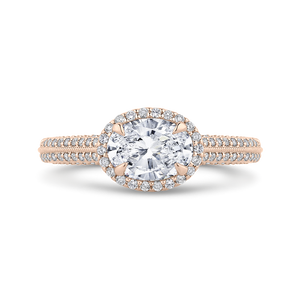 CAO0438EH-37P-1.00 Bridal Jewelry Carizza Rose Gold Oval Diamond Halo Engagement Rings