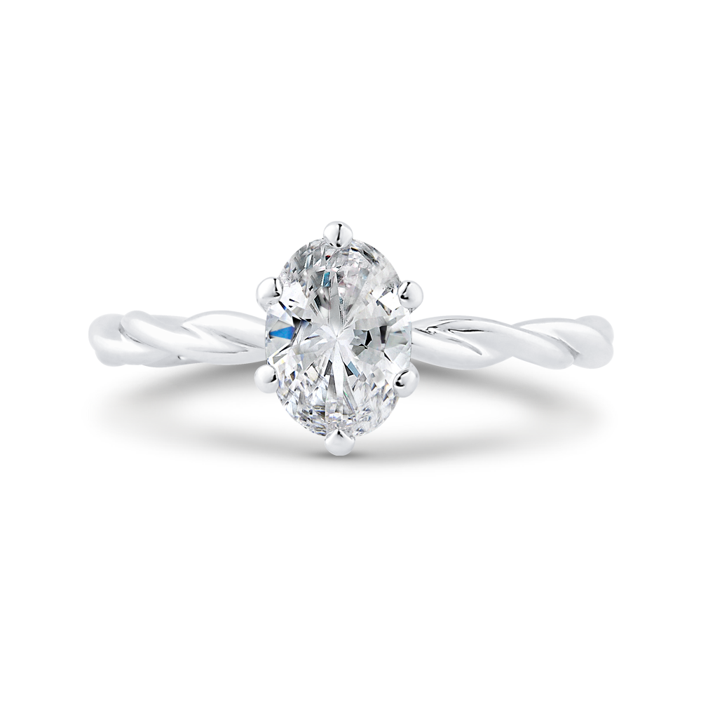 CAO0508E-W-1.00 Bridal Jewelry Carizza White Gold Oval Solitaire Engagement Rings