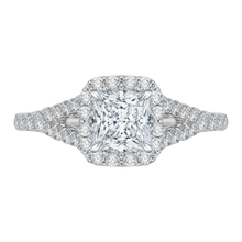 Load image into Gallery viewer, CAP0033E-37W Bridal Jewelry Carizza White Gold Princess Cut Diamond Halo Engagement Rings