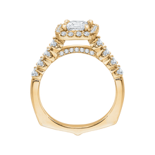 Load image into Gallery viewer, 14K Yellow Gold Princess Diamond Halo Engagement Ring (Semi Mount)