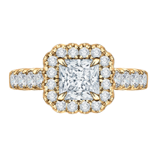 Load image into Gallery viewer, CAP0037E-37 Bridal Jewelry Carizza Yellow Gold Princess Cut Diamond Halo Engagement Rings