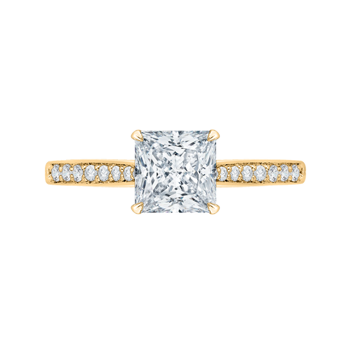 CAP0040E-37 Bridal Jewelry Carizza Yellow Gold Princess Cut Diamond Solitaire Engagement Rings
