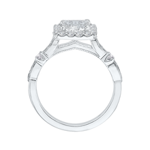 Load image into Gallery viewer, Princess Diamond Halo Vintage Engagement Ring In 14K White Gold (Semi Mount)