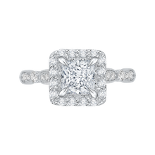 Load image into Gallery viewer, CAP0042E-37W Bridal Jewelry Carizza White Gold Vintage Princess Cut Diamond Halo Engagement Rings