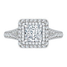 Load image into Gallery viewer, CAP0062E-37W Bridal Jewelry Carizza White Gold Princess Cut Diamond Double Halo Engagement Rings