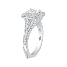Load image into Gallery viewer, 14K White Gold Princess Diamond Double Halo Engagement Ring with Split Shank (Semi Mount)
