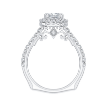 Load image into Gallery viewer, 14K White Gold Princess Cut Diamond Halo Engagement Ring (Semi Mount)