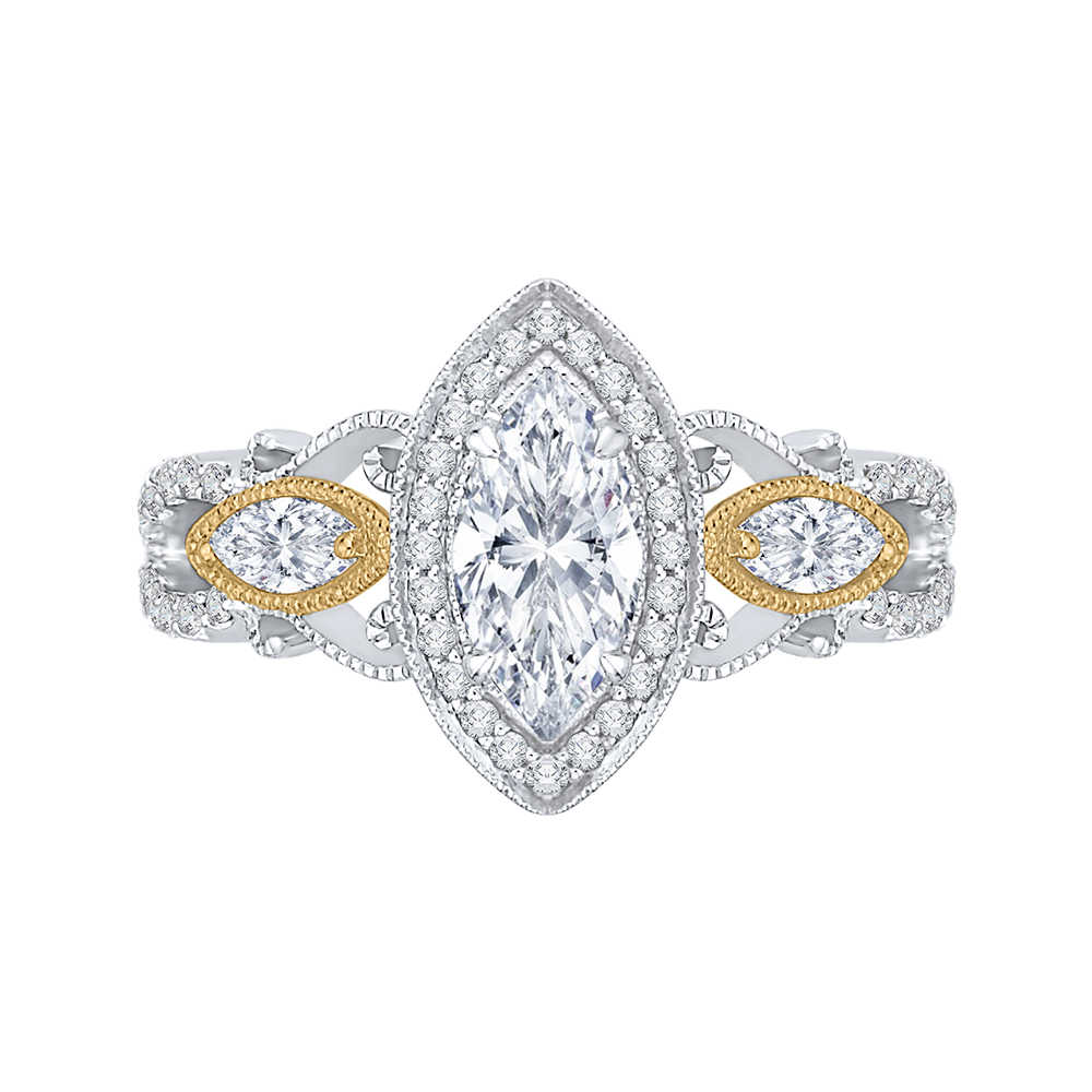 CAQ0175EH-37WY Bridal Jewelry Carizza White Gold Rose Gold Yellow Gold Marquise Cut Diamond Halo Engagement Rings