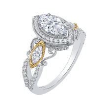 Load image into Gallery viewer, 14K Two Tone Gold Marquise Diamond Halo Engagement Ring (Semi Mount)