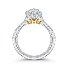 Load image into Gallery viewer, 14K Two Tone Gold Marquise Diamond Halo Vintage Engagement Ring with Split Shank (Semi Mount)