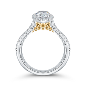 14K Two Tone Gold Marquise Diamond Halo Vintage Engagement Ring with Split Shank (Semi Mount)