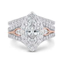 Load image into Gallery viewer, 14K Two Tone Gold Marquise Diamond Halo Engagement Ring with Split Shank (Semi Mount)