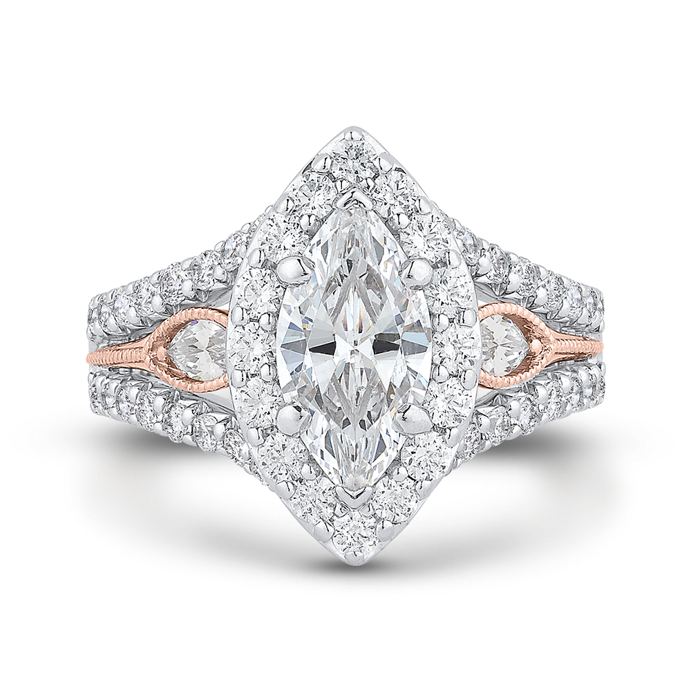 14k Two Tone Gold Marquise Diamond Halo Engagement Ring With Split Shank Semi Mount Carizza Michael And Son S Jewelers