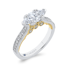 Load image into Gallery viewer, 14K Two Tone Gold Marquise Diamond Engagement Ring (Semi Mount)