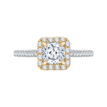 Load image into Gallery viewer, CAU0034E-37WY Bridal Jewelry Carizza White Gold Rose Gold Yellow Gold Cushion Cut Diamond Halo Engagement Rings