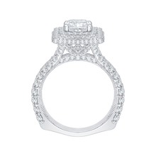 Load image into Gallery viewer, 14K White Gold Split Shank Cushion Diamond Double Halo Engagement Ring (Semi Mount)