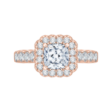 Load image into Gallery viewer, CAU0037E-37P Bridal Jewelry Carizza Rose Gold Cushion Cut Diamond Halo Engagement Rings