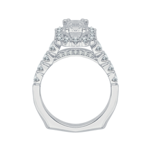 Load image into Gallery viewer, 14K White Gold Cushion Diamond Cathedral Style Engagement Ring with Euro Shank (Semi Mount)