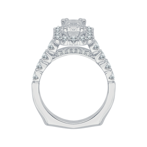 14K White Gold Cushion Diamond Cathedral Style Engagement Ring with Euro Shank (Semi Mount)