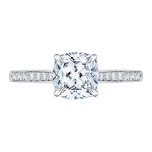 Load image into Gallery viewer, CAU0040E-37W Bridal Jewelry Carizza White Gold Cushion Cut Diamond Solitaire Engagement Rings