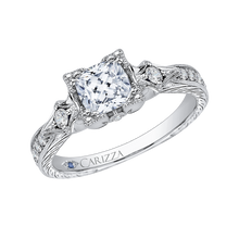 Load image into Gallery viewer, 14K White Gold Cushion Cut Diamond Vintage Engagement Ring (Semi Mount)