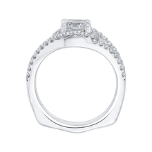Load image into Gallery viewer, 14K White Gold Cushion Diamond Halo Engagement Ring with Split Shank (Semi Mount)