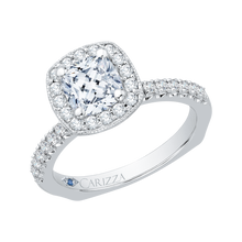 Load image into Gallery viewer, 14K White Gold Cushion Diamond Halo Engagement Ring with Euro Shank (Semi Mount)
