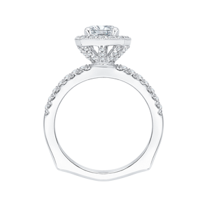 14K White Gold Cushion Diamond Halo Engagement Ring with Euro Shank (Semi Mount)