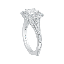 Load image into Gallery viewer, 14K White Gold Cushion Diamond Double Halo Engagement Ring with Split Shank (Semi Mount)