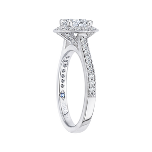 14K White Gold Cushion Diamond Halo Engagement Ring (Semi Mount)
