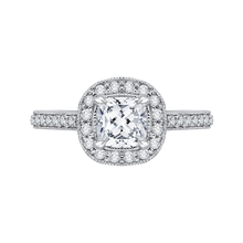 Load image into Gallery viewer, CAU0090E-37W Bridal Jewelry Carizza White Gold Cushion Cut Diamond Halo Engagement Rings