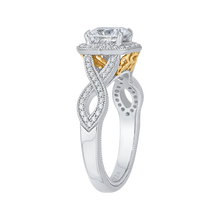 Load image into Gallery viewer, 14K Two Tone Gold Cushion Cut Diamond Halo Engagement Ring with Split Shank (Semi Mount)