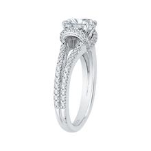 Load image into Gallery viewer, 14K White Gold Cushion Cut Diamond Engagement Ring with Split Shank (Semi Mount)