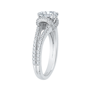 14K White Gold Cushion Cut Diamond Engagement Ring with Split Shank (Semi Mount)