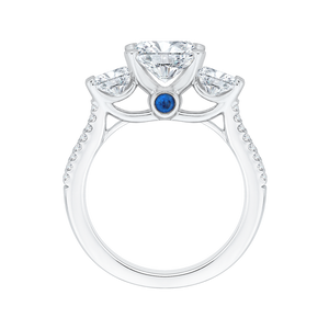 Cushion Cut Diamond with Sapphire Three Stone Cathedral Style Engagement Ring In 14K White Gold (Semi Mount)